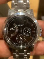 Seiko Men's Stainless Steel Sapphire Crystal Black Dial Wristwatch 5Y66-0AA0