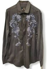 Just Cavalli Men's Size 48 Gray Striped Floral Embroidery Button Front Shirt euc