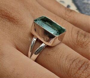 Aquamarine Gemstone 925 Sterling Silver Ring Birthstone Ring Gift For Her k/1