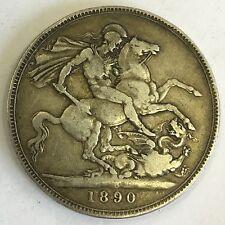 Antique Silver 1890 Crown Victoria Victorian Coin