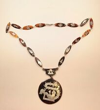 Antique Tortoise Shell Silver Mother of Pearl Overlay Necklace