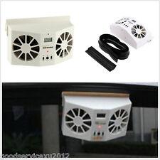 Built-in Battery Rechargeable Solar Autos Front Window Dual Fan Air Vent Cooler