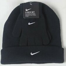 Nike Kids Swoosh Beanie Hat & Gloves 2PC Set Black Size 8/20 NWT