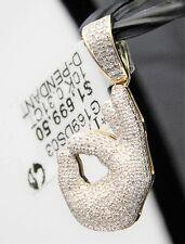 10k White Gold Mens OK Hand Emoji Diamond Pendant Charm Hip Hop Micro Pave