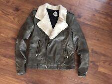 Volcom Faux Leather Bomber Jacket Coat S
