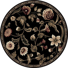 "Transitional Floral Black 8x8 Round Area Rug Leaf Vine - Actual 7' 10"" x 7' 10"""