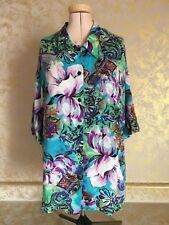 Clio Vintage Floral Button Down 3/4 Sleeve Turquoise/Purple/Green/White M USA