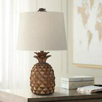 Tropical Accent Table Lamp Pineapple Brown for Living Room Bedroom Nightstand