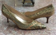 New ISABELLA FIORE Reptile Leather Print Heel Pump Shoes Size 6.5M Made in Italy