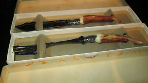 VINTAGE CAKE/BUTTER KNIFE AND FORK HORN HANDLES EPNS BOTH BOXED 17CM