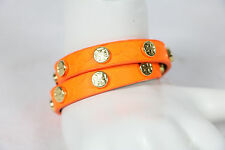 TORY BURCH bracelet leather logo double neon orange studded wrap