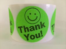 """250 THANK YOU SMILEY 2"""" GREEN NEON BEST PRICE THANK YOU LABELS 2"""" SHIPPING NEW"""