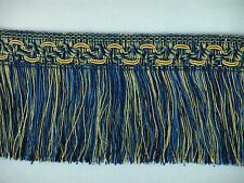 "5 YARDS of 3 1/2"" Blue & Gold Cut Brush Fringe Trim Lampshades Pillows Throws"