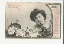 cartolina calendario mese giugno juin  1904   parte alta leggermente rovinata