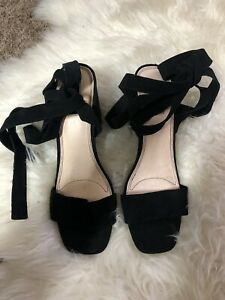 Topshop Rapping Black Ankle Tie Sandals Heels Size 7 BNWT