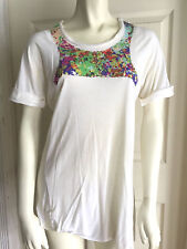 Poleci ivory cream roll up sleeve knit tencel top w/sequin detail sz M medium