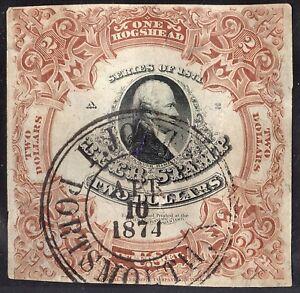 Beer Stamp 1871 REA29b 2 dollar Red Brown Gray Silk Paper 1 Hogshead 4 10 1874