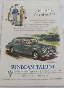 Vintage 1954 Sunbeam Talbot Original Advertisement, Vintage Print Ad