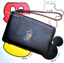 COACH X DISNEY Limited Edition MICKEY MOUSE Black Leather Wristlet Bag NWT