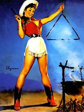 PAINTING PORTRAIT PIN UP GIRL COWGIRL CAMP FIRE TRIANGLE USA