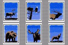 6 Christmas Greeting Cards Winter Snow 1 Each Caribou Moose Elk Eagle Bear Wolf