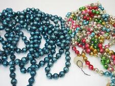 New Listing2 Strand Vtg Mercury Glass Bead String Christmas Feather Tree Garland Blue Multi