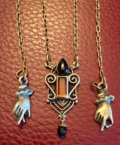 """Necklace Designer Mary DeMarco Fine Onyx Amber Crystal 16"""" Chain"""