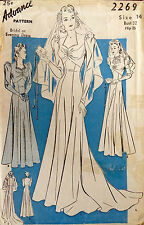 1940s WW2 Vintage Sewing Pattern B32 BRIDAL & EVENING DRESS with TRAIN (1538R)