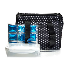 NWT Nicole Miller Insulated Lunch Bag Tote with Food Container Polka Dot