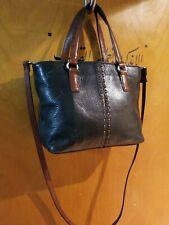 """FOSSIL SATCHEL Black Brown Leather Shoulder Tote Bag 11""""W× 7.5""""W× 3.5""""D stra 19"""""""