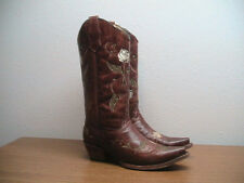 Womens 9.5 M Corral Circle G Cognac Brown Leather Rose Western Cowboy Boots