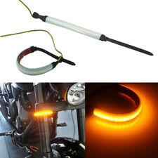 2pcs Bright Amber 24-SMD LED Front Fork Strip Lights For Motorcycle Turn Signal