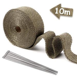 10M Titanium Exhaust Heat Wrap Manifold Downpipe High Temp Bandage Tape Roll
