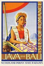"Vintage Illustrated Travel Poster CANVAS PRINT Java & Bali Indonesia 24""X16"""