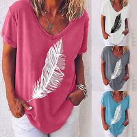 Womens Short Sleeve V Neck Feather Print Loose T Shirt Summer Blouse Casual Tops