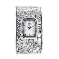 EON 1962 Swiss Movement Cuff Bracelet Watch 925 Sterling Silver Steel Back