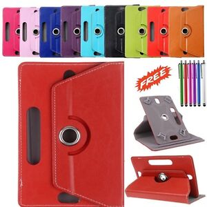 """360° Rotatable Leather Case Cover Stand For ALBA 7"""" Inch Tablet with Free Stylus"""