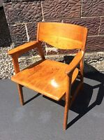 Vtg Gunlocke Chair Co. Walnut Wood  Mid Century Danish Modern Chair - Very Good