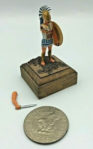 Vintage Hand Painted Lead Metal Greek Roman Warrior Toy Soldier w/ Custom Base