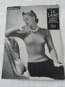 Original 1940's Knitting Pattern La Laine Lady's Jersey Bairnswear 2105