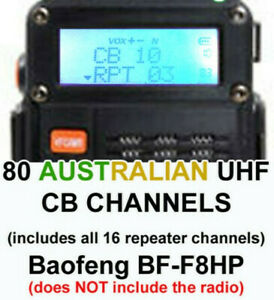 Australian UHF CB (Citizen Band) 80 Channels for Baofeng BF-F8HP