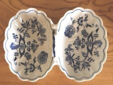 Blue Danube Relish Dish, Nut Candy Dish, Blue Onion Pattern, Rectangular Stamp