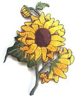 SUNFLOWER PATCH x 1, Embroidered Badge, Vibrant Colours *SEW-ON or IRON-ON*