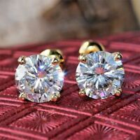 VVS1 2.00 ct Diamond Earrings Fine Solid 14Kt Yellow Gold Round Cut Stud