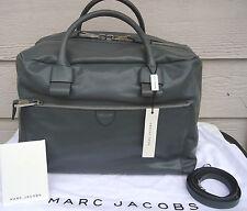 NEW $2295 MARC JACOBS Large Antonia Leather Grey Duffel Shoulder Bag Weekender