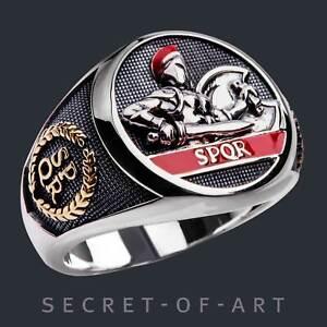 SPQR Ring Römischer Adler Rom 925 Silber Centurio Soldat Gladiator GoldPlattiert