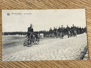 WWI Belgium Army w/ Bicycles Bike Marching Posted Photo Postcard