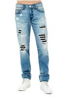 True Religion Men's Super T Geno Slim Distressed Jeans w/ Rips & Patches