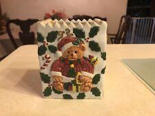 Teddy Bear Dressed As Santa Porcelain Bag Figurine ^
