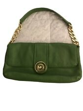 MICHAEL KORS GREEN LEATHER CLUTCH WITH CHAIN STRAP